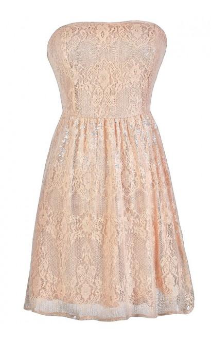 Pink Sequin Dress, Pink Lace Dress, Pink Sequin Lace Dress, Cute Pink Dress, Pink Prom Dress, Pink Cocktail Dress, Pink Party Dress, Pink Strapless Lace Dress