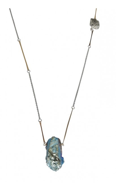 Cute Rough Stone Necklace, Blue Rough Stone Pendant, Blue Mineral Stone Necklace, Rough Stone and Pyrite Necklace, Gold Pyrite Necklace