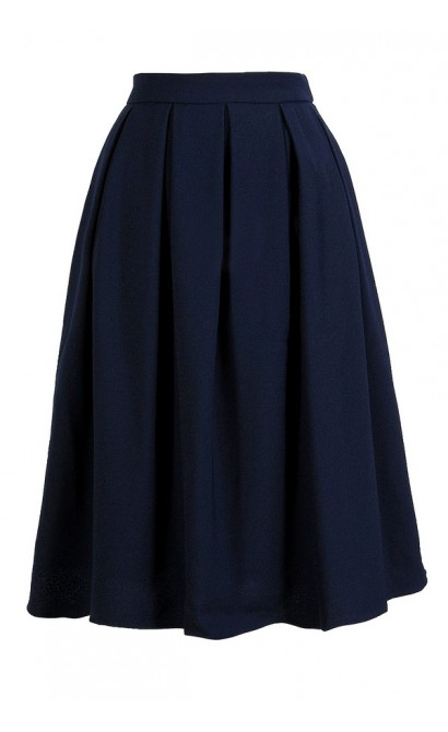 Navy A-Line Skirt, Navy Pleated Skirt, Navy High Waisted A-Line Skirt, Cute Work Skirt, Navy Work Skirt