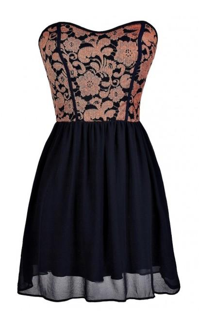 Navy and Coral Dress, Cute Navy and Coral Dress, Navy and Coral Party Dress, Navy and Coral Lace Dress, Navy and Coral Strapless Dress