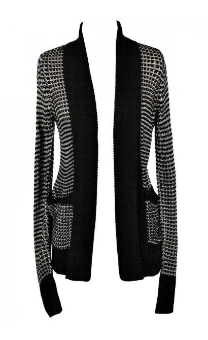 Cute Black and Beige Top, Black and Beige Cardigan Sweater, Black and Beige Open Cardigan, Black and Beige Knit Sweater, Cute Black and Beige Sweater