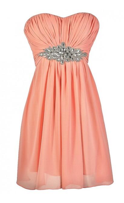 Cute Pink Dress, Pink Prom Dress, Pink Bridesmaid Dress, Pink Embellished Dress, Pink Rhinestone Dress, Pink Party Dress, Pink Cocktail Dress