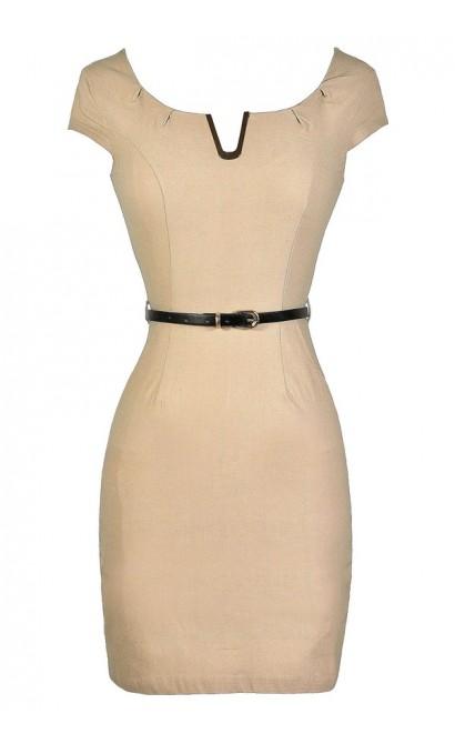 Beige Pencil Dress, Cute Beige Dress, Beige Work Dress, Belted Beige Dress, Fitted Beige Dress
