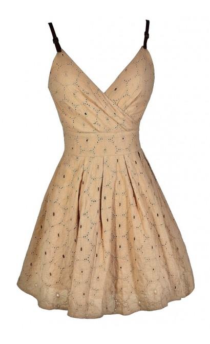 Cute Eyelet Dress, Taupe Eyelet Dress, Beige Eyelet Dress, Light Brown Eyelet Dress, Cute Summer Dress, Taupe A-Line Dress, Taupe Party Dress