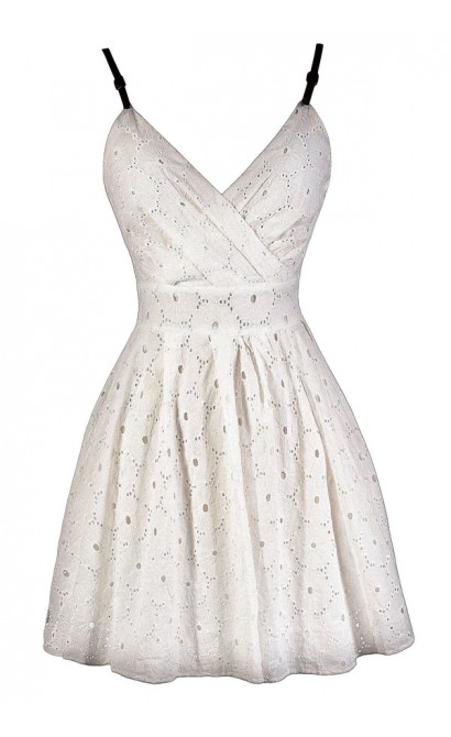 Cute Ivory Dress, Ivory Eyelet Dress, Ivory A-Line Dress, Ivory Rehearsal Dinner Dress, Ivory Party Dress, Cute Summer Dress