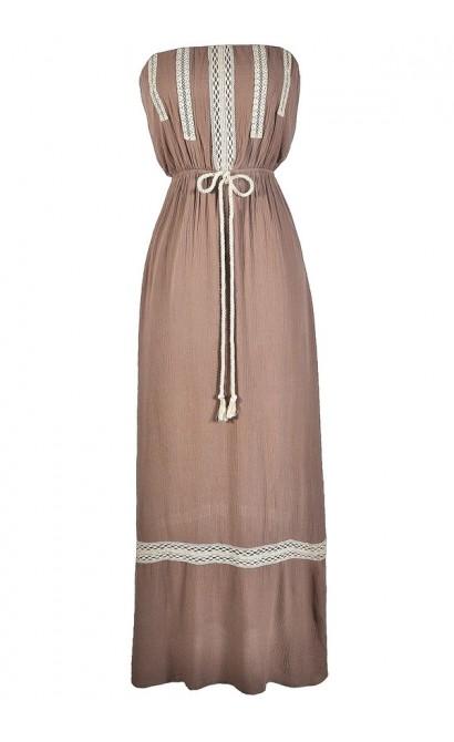 Cute Maxi Dress, Cute Summer Dress, Bohemian Maxi Dress, Hippie Maxi Dress, Taupe and Ivory Maxi Dress, Mocha and Ivory Maxi Dress, Cute Summer Dress
