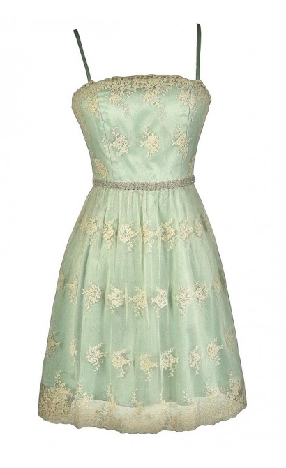Cute Mint Dress, Mint A-Line Dress, Mint Embroidered Dress, Mint Bridesmaid Dress, Mint Party Dress