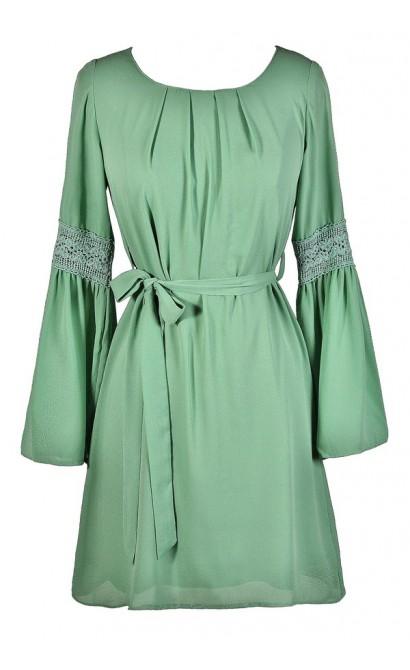 Cute Green Dress, Green Bell Sleeve Dress, Sage Bell Sleeve Dress, Green Flared Sleeve Dress, Green Boho Dress, Green Hippie Dress