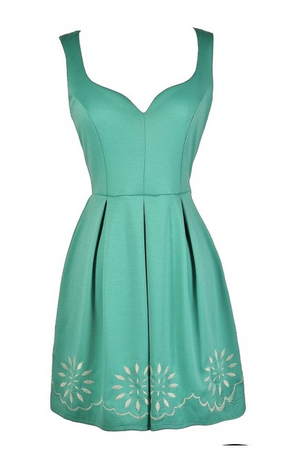 Cute Mint Dress, Mint Party Dress, Mint A-Line Dress, Mint Embroidered Dress, Cute Summer Dress, Mint Summer Dress, Mint Bridesmaid Dress