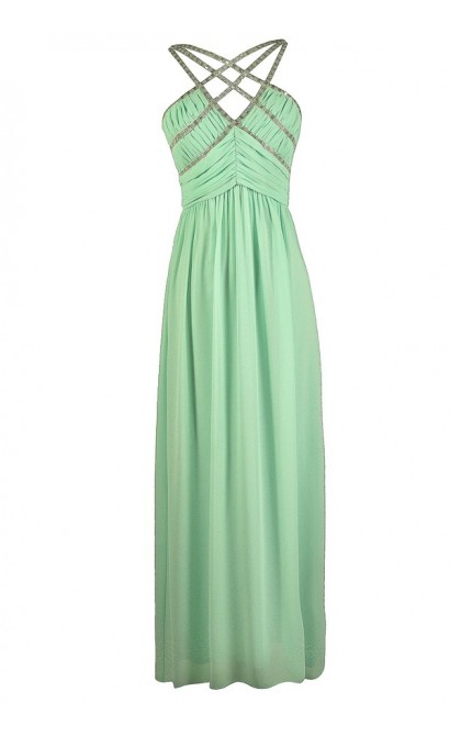 Cute Mint Dress, Mint Prom Dress, Mint Maxi Dress, Mint Formal Dress, Mint Embellished Maxi Dress, Mint Embellished Prom Dress