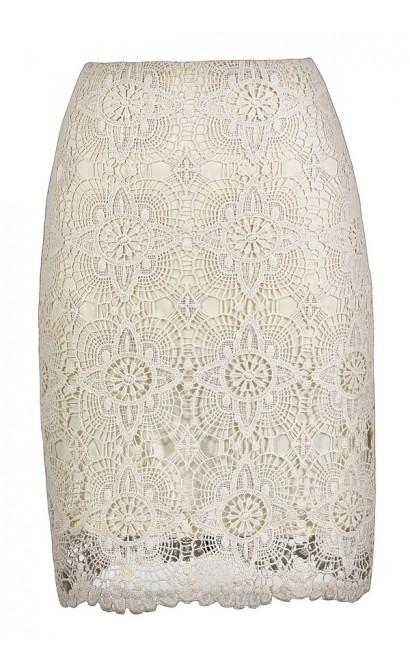 Lace Pencil Skirt, Cute Beige Skirt, Beige Lace Skirt, Beige Lace Pencil Skirt, Beige Crochet Lace Skirt