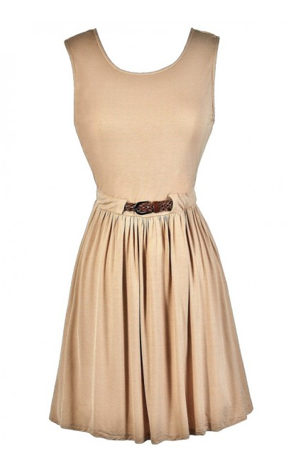 Cute Beige Dress, Beige Party Dress, Cute Summer Dress, Beige Summer Dress, Beige A-Line Dress, Beige Belted Dress, Cute Country Dress, Beige A-Line Dress