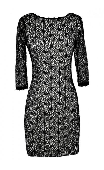 Black Lace Dress, Cute Black Dress, Black Lace Party Dress, Black Lace Cocktail Dress, Black Lace Three Quarter Sleeve Dress
