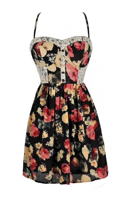 Black Floral Sundress, Black and Red Floral Dress, Cute Sundress, Red and Black Floral Sundress, Red and Black Floral Summer Dress, Cute Summer Dress, Floral Print Summer Dress, Floral Print Lace Sundress