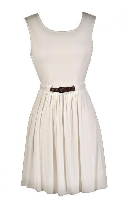 Cute Ivory Dress, Ivory Party Dress, Ivory Belted Dress, Cute Country Dress, Ivory Summer Dress, Off White Summer Dress, Off White Party Dress, Cute Off White Dress