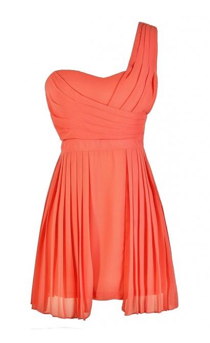 Cute Coral Dress, Coral Bridesmaid Dress, Cute Summer Dress, Coral One Shoulder Dress, Coral Party Dress, Coral Cocktail Dress, Pleated Coral Dress, Cute Summer Dress