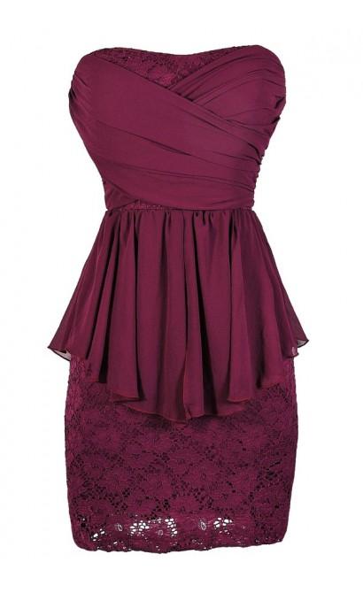 Magenta Lace Dress, Magenta Cocktail Dress, Magenta Party Dress, Magenta Peplum Lace Dress, Magenta Strapless Lace Dress
