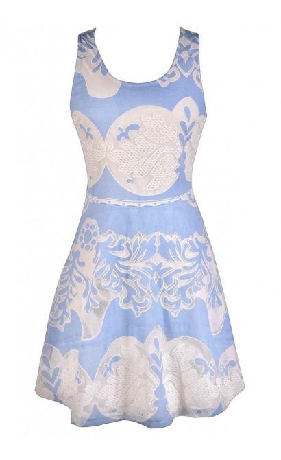 Cute Blue Dress, Pale Blue Dress, Sky Blue Dress, Sky Blue and Ivory Dress, Pale Blue and Ivory Dress, Baby Blue and Ivory Dress, Pale Blue and White Dress, Sky Blue and White Dress, Baby Blue and White Dress, Cute Summer Dress, Blue and White Summer Dres