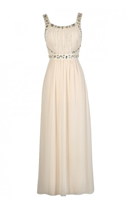 Cute Beige Dress, Beige Prom Dress, Beige Maxi Dress, Beige Rhinestone Dress, Beige Beaded Dress, Beige Floor Length Dress