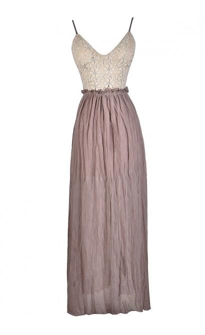 Cute Maxi Dress, Boho Glam Maxi Dress, Backless Lace Maxi Dress, Ivory and Mink Maxi Dress, Cute Summer Dress, Backless Summer Dress, Boho Glam Maxi Dress