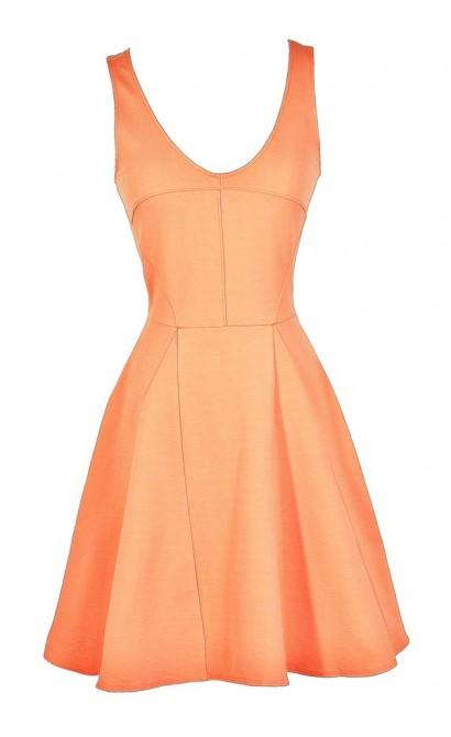 Bright Peach Dress, Cute Peach Dress, Peach Summer Dress, Bright Peach A-Line Dress, Bright Peach Party Dress, Bright Peach Summer Dress, Peach Summer Dress, Peach Party Dress