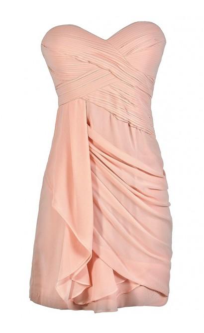 Pale Pink Bridesmaid Dress, Light Pink Bridesmaid Dress, Blush Pink Bridesmaid Dress, Pale Pink Strapless Dress, Blush Pink Strapless Dress, Pale Pink Cocktail Dress, Blush Pink Party Dress, Pale Pink Party Dress