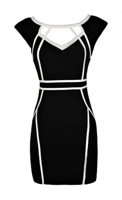 Cute Pencil Dress, Black Pencil Dress, Black and White Pencil Dress, Black and White Fabric Piping Pencil Dress, Black and White Cutout Pencil Dress, Black and White Party Dress