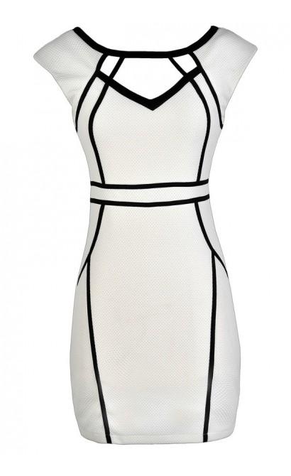 White Pencil Dress, White and Black Pencil Dress, White Pencil Dress With Fabric Piping, White Cutout Pencil Dress
