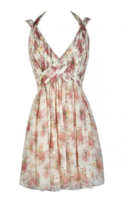 Cute Pink and White Dress, Pink and Ivory Dress, Floral Print Dress, Floral Print Summer Dress, Floral Print Bridesmaid Dress, Pink and White Floral Print Dress, Pink and Ivory Floral Print Dress, Pink and Ivory Floral Print Cocktail Dress, Pink and White