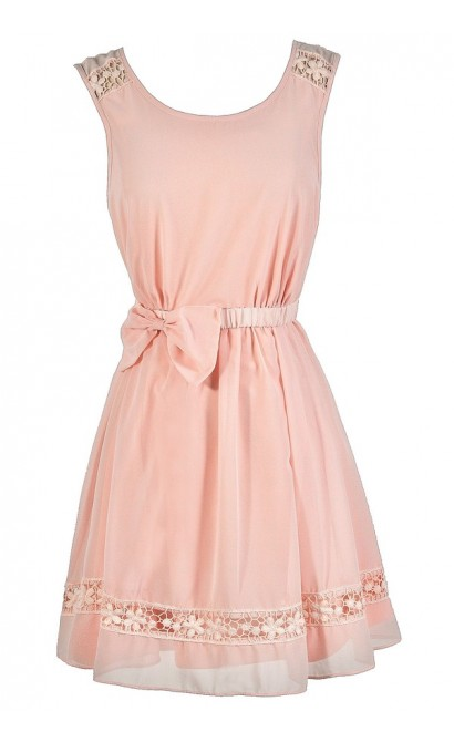 Cute Pink Dress, Pink Bow Dress, Pale Pink Dress, Blush Pink Dress, Pink A-Line Dress, Pink Party Dress, Blush Party Dress, Pink Bridesmaid Dress, Pink Summer Dress