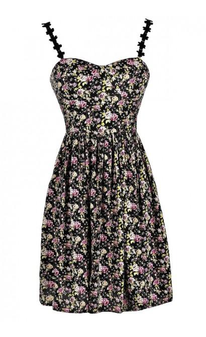 Cute Summer Dress, Black Floral Print Dress, Floral Print A-Line Dress, Floral Print Sundress, Floral Print Summer Dress, Floral Print Party Dress