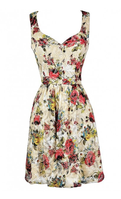 Floral Print Sundress, Cute Summer Dress, Floral Print A-Line Dress, Beige and Red Sundress, Rose Print Dress, Rose Print Sundress, Rose Print Party Dress