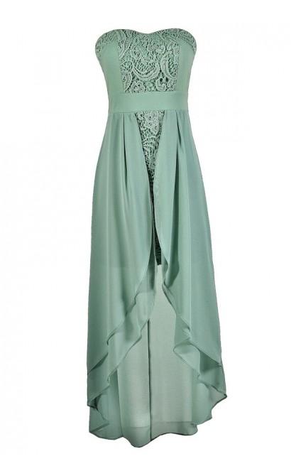 Cute Sage Dress, Sage Lace Dress, Sage High Low Dress, Sage Semi-formal Dress, Sage Strapless Dress, Sage Party Dress