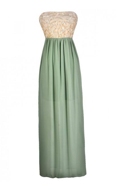 Sage Maxi Dress, Green Maxi Dress, Beige and Green Maxi Dress, Cream and Green Maxi Dress, Cute Summer Dress