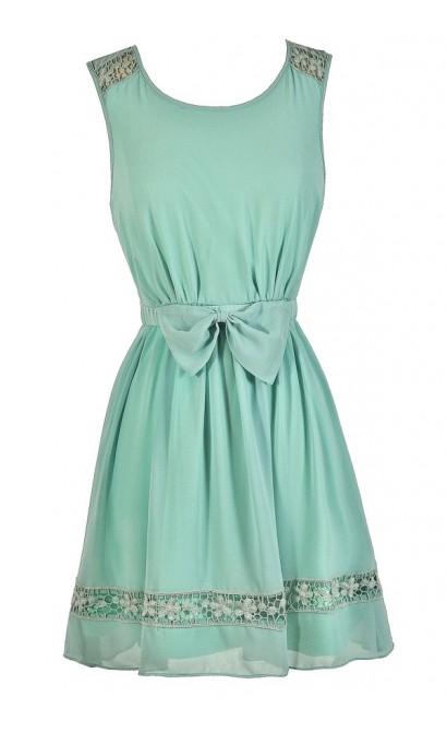 Cute Mint Dress, Mint Lace Dress, Mint Party Dress, Mint A-Line Dress, Cute Summer Dress, Cute Party Dress, Cute Bow Dress, Mint Summer Dress