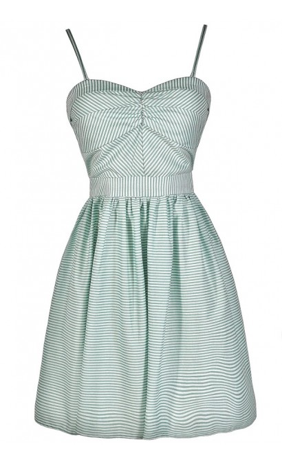 Cute Mint Dress, Mint Stripe Dress, Mint Stripe Party Dress, Mint Stripe Summer Dress, Mint Stripe A-Line Dress