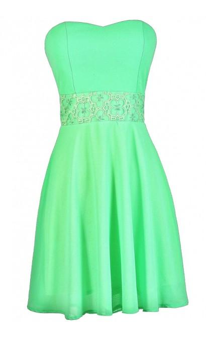Bright Green Dress, Neon Green Dress, Green Party Dress, Green Summer Dress, Green Cocktail Dress, Neon Green A-Line Dress, Bright Green Strapless Dress