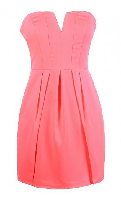 Cute Pink Dress, Hot Pink Dress, Bright Pink Dress, Neon Pink Dress, Hot Pink Strapless Dress, Cute Pink Summer Dress, Bright Pink Cocktail Dress