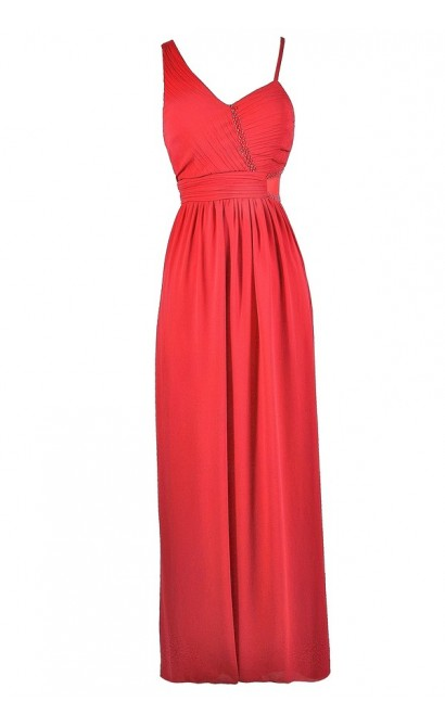 Coral Pink Maxi Dress, Coral Pink Prom Dress, Coral Pink Formal Dress, Coral Pink Assymetrical Dress, Embellished Coral Pink Dress