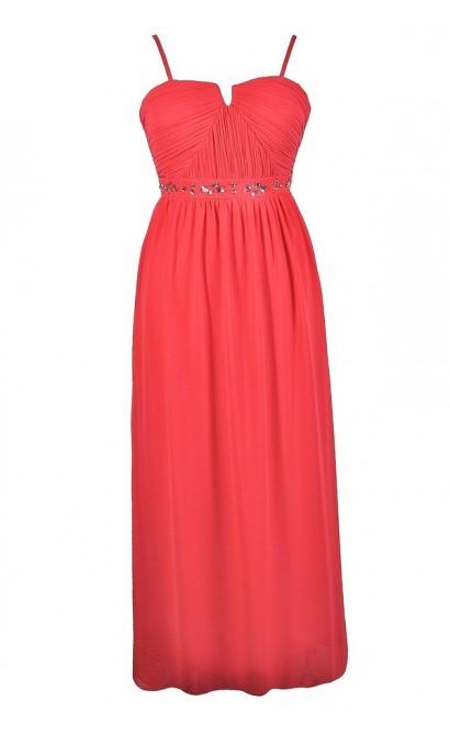 Coral Plus Size Maxi Dress, Coral Plus Size Prom Dress, Cute Plus Size Dress, Coral Plus Size Formal Dress, Cute Formal Dress, Coral Rhinestone Dress