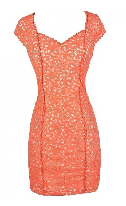 Orange Lace Dress, Orange Lace Pencil Dress, Fitted Orange Lace Dress, Orange Lace Summer Dress, Orange Lace Cocktail Dress