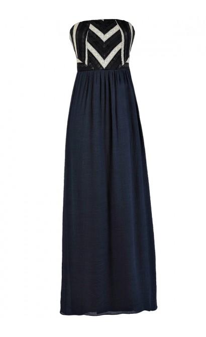 Cute Maxi Dress, Navy Maxi Dress, Cute Summer Dress, Summer Maxi Dress, Navy Summer Dress, Strapless Maxi Dress
