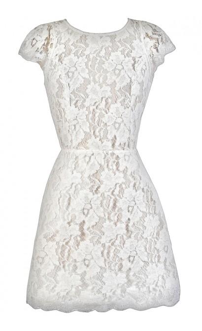 Off White Lace Dress, White Lace Party Dress, Off White Lace Cocktail Dress, Open Back Off White Lace Dress, Open Back Ivory Lace Dress, Cute Bachelorette Party Dress