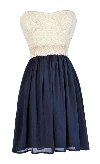 Cute Navy Dress, Navy and Ivory Dress, Navy and Ivory Lace Dress, Navy and Off White Lace Dress, Navy Summer Dress, Navy Strapless Dress, Navy A-Line Dress