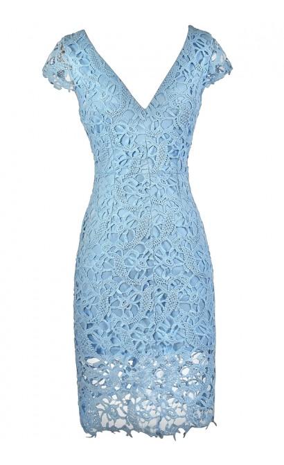Lily Boutique Pale Blue Lace Dress, Sky Blue Lace Dress ... - photo #34