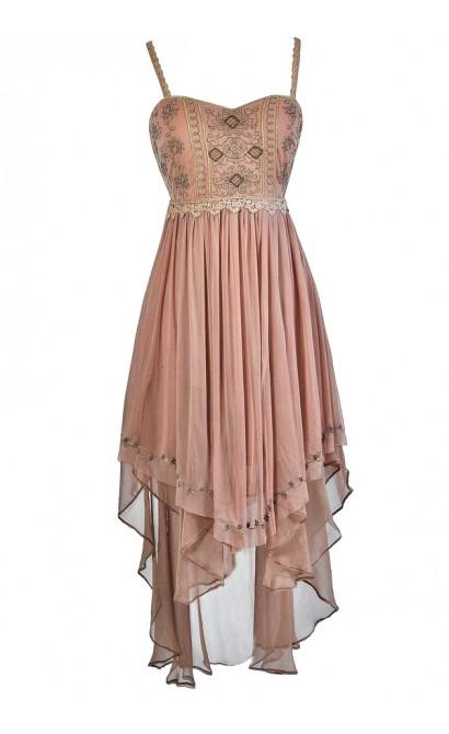 Mocha High Low Dress, Brown High Low Dress, Embroidered High Low Dress, Semi Formal Dress, Ren Faire Dress