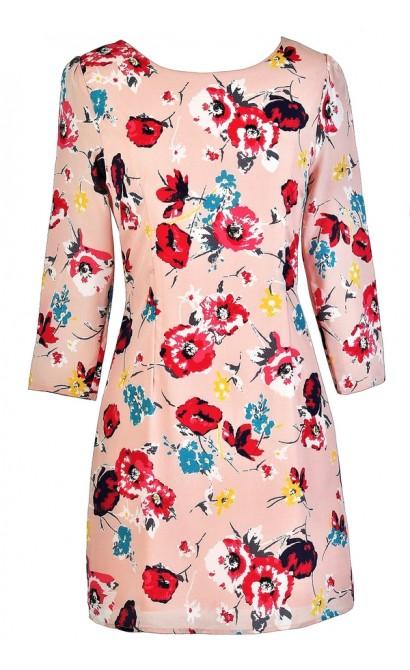 Pink Floral Print Dress, Pink Floral Print Shift Dress, Cute Shift Dress, Summer Shift Dress, Printed Shift Dress, Pale Pink Floral Dress