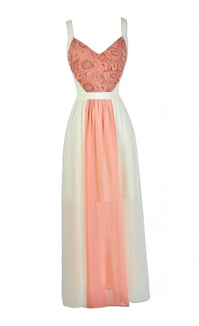 Cream and Peach Maxi Dress, Cute Maxi Dress, Cute Summer Dress, Summer Maxi Dress, Pink and Cream Maxi Dress, Pink and Beige Maxi Dress, Lace Pink and Beige Maxi Dress