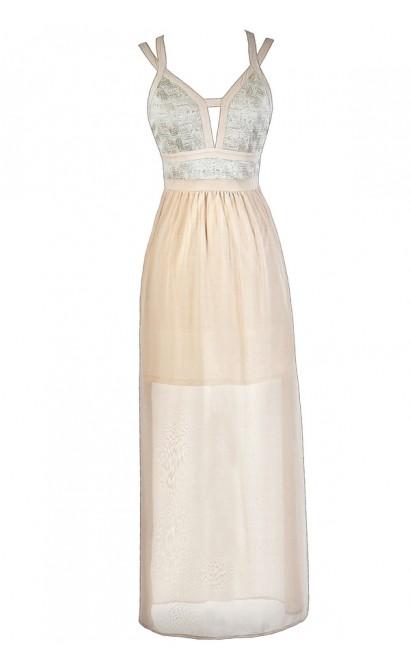 Cute Maxi Dress, Ivory Maxi Dress, Cream Maxi Dress, Beige Maxi Dress, Cute Formal Dress, Formal Maxi Dress