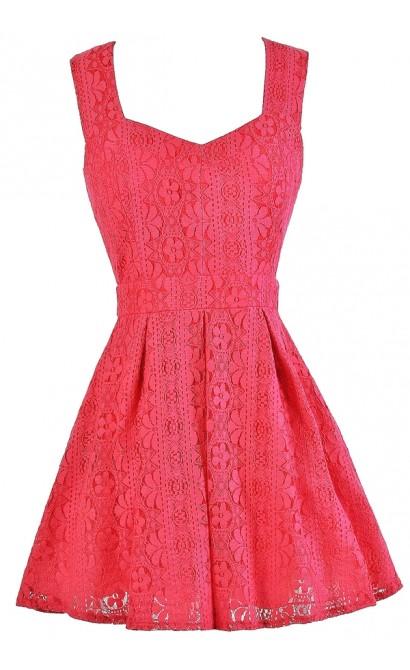 Hot Pink Lace Dress, Hot Pink A-Line Lace Dress, Hot Pink Party Dress, Cute Summer Dress, Hot Pink Cocktail Dress
